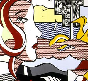 Particolare dell'opera Figures in Landscape di Roy Lichtenstein