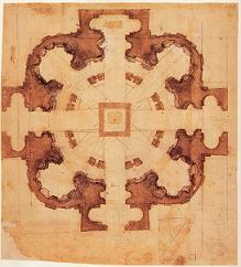 Michelangelo Architetto - Studio planimetrico per San Giovanni dei Fiorentini