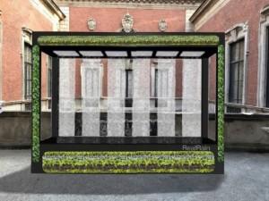L'installazione RealRain and Power of Water by Kohler, una vera cascata sulla terrazza di palazzo Vagatti Valsecchi